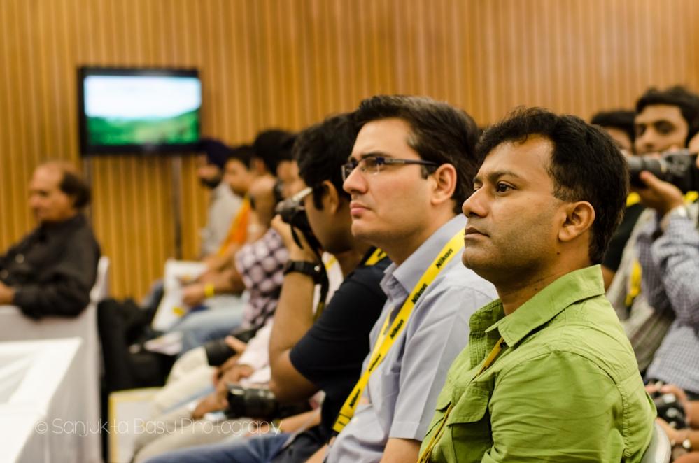 Participants at the Nikon Power Your Clicks Workshop hearing Mr. Raghu Rai speak