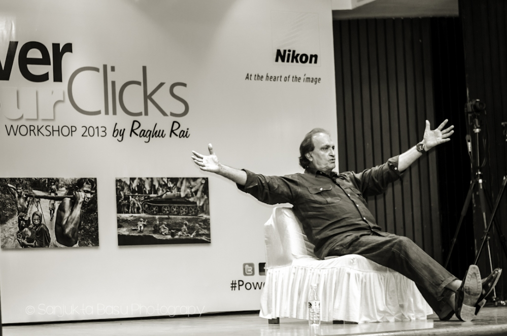 Ace photographer Raghu Rai speaking at the Nikon Power Your Clicks workshop in New Delhi